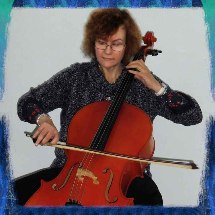 Penny Penelope Tedd, piano, keyboard, cello, trumpet teacher from Bognor Regis, West Sussex, playing the cello.