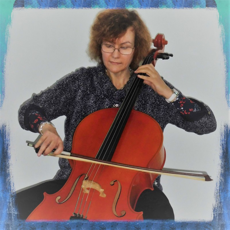 Penelope Penny Tedd piano, keyboard, cello, trumpet, teacher playing the cello.
