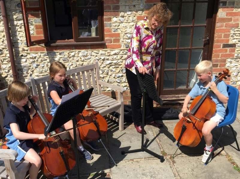 Penny Tedd piano, cello, brass teacher with private school cello pupils.